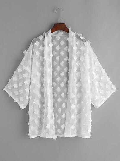 White Flower Applique Sheer Kimono