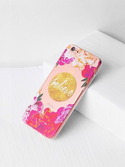 Funda para iPhone 6/6s transparente con estampado de flor
