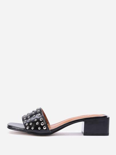 Studded Decorated PU Heeled Sandals