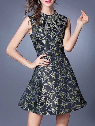 A-Linie Kleid mit Seemannkragen und Muster - schwarz
