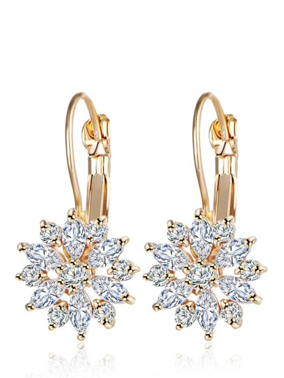 Rhinestone Flower Hoop Earrings