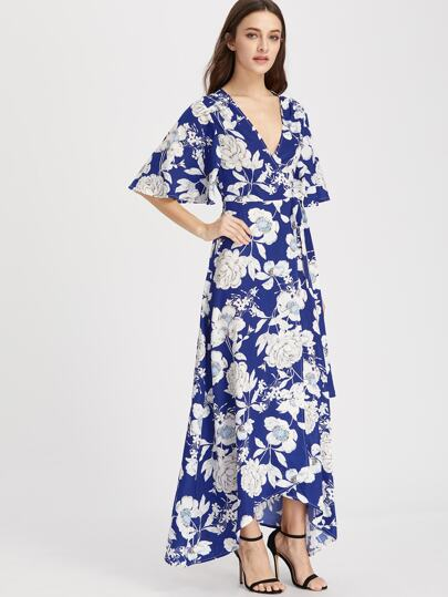 Flower Print Flutter Sleeve Surplice Wrap Dress