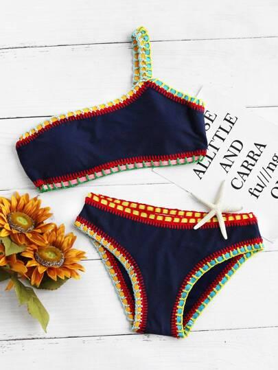 Set bikini con ribete en contraste