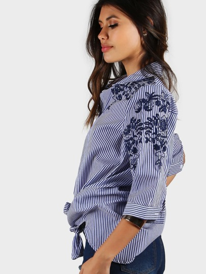 Embroidered Striped Button Down BLUE
