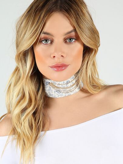 Paisley Print Tie Up Choker WHITE