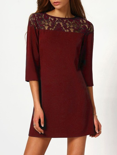 Illusion Lace Neck Buttoned Keyhole 3/4 Sleeve Dress