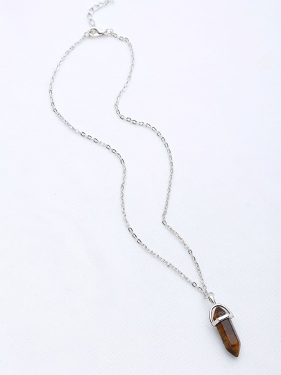 Contrast Stone Pendant Chain Necklace