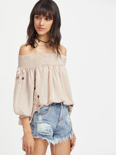 Shirred Off The Shoulder Embroidery Top