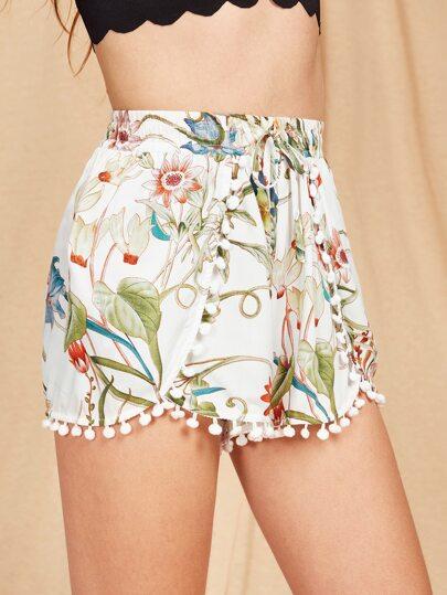 Shorts vague imprimé des fleurs