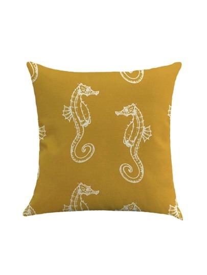 Funda de almohada de lino con estampado de caballo de mar