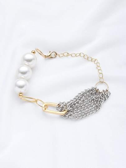 Braccialetto a catena con perle sintetiche a contrasto