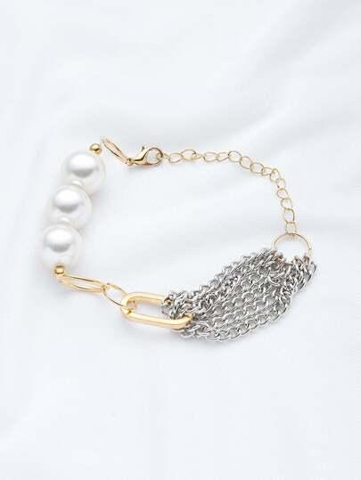 Brazalete con cadena con perla de imitación