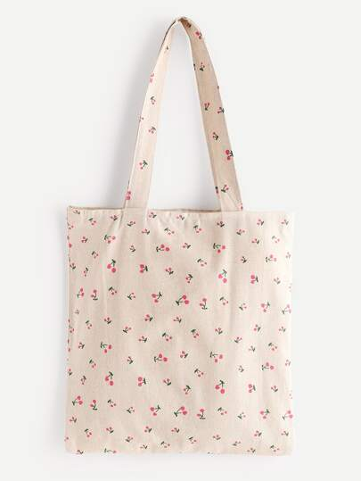 Cherry Print Linen Shopping Bag