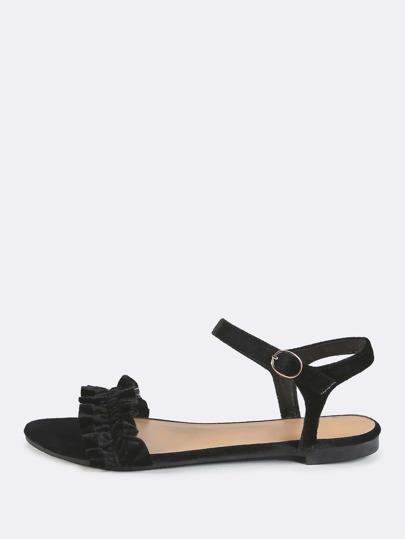 Open Toe Velvet Sandals BLACK