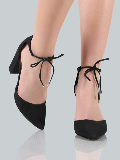 Point Toe Ankle Wrap Heels BLACK