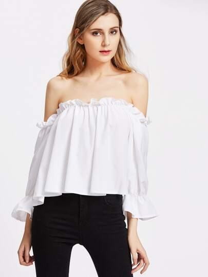 Ruffle Shoulder And Cuff Button Back Flowy Top