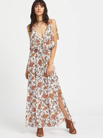 Flower Print Split Sleeve Knot Front Maxi Dress