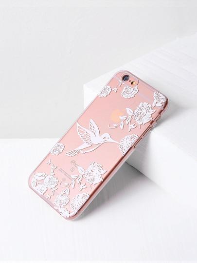 Cover per iPhone 6/6s con stampa di uccello e fiore