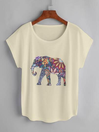 Cap Sleeve Elephant Print Tshirt