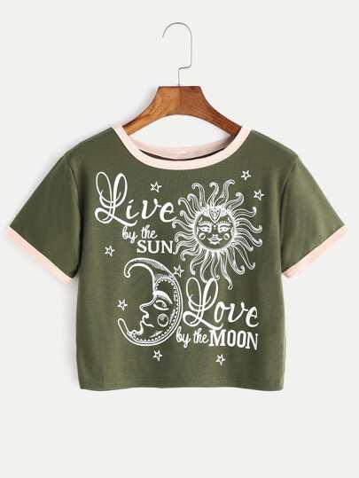 Tee-shirt bicolore découpé imprimé du soleil et de la lune