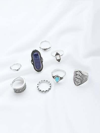 Pack anillo en multiforma con piedras preciosas