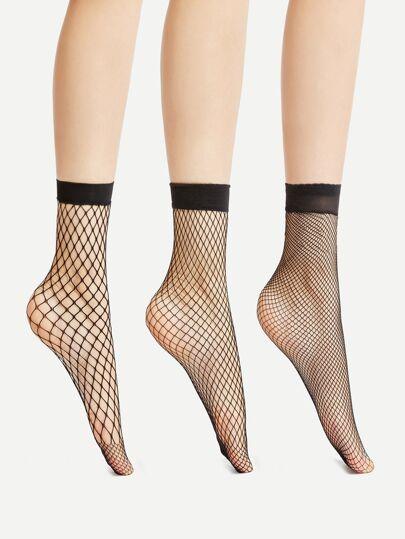 Chaussettes à cheville Fishnet 3 paires
