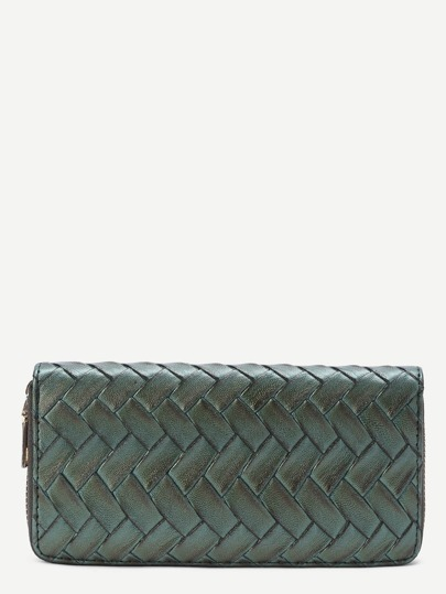 Woven Faux Leather Wallet With Zipper