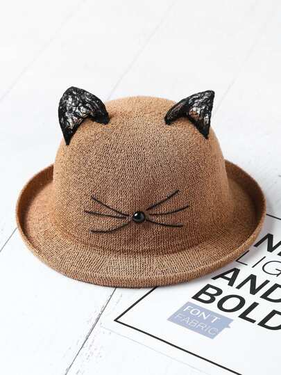 Cute Face Pattern Hat With Cat Ear