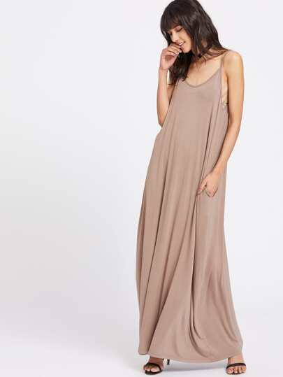 Double Scoop Neck Side Pocket Maxi Cami Dress