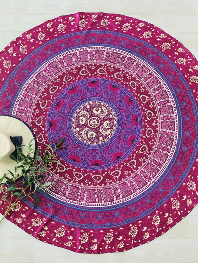 Calico Print Round Beach Blanket