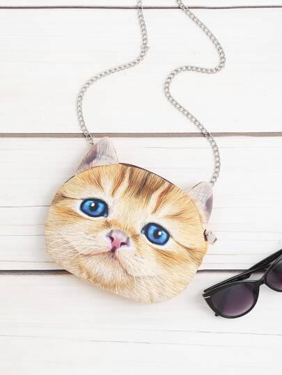 حقيبة  بشكل القطة مع السلسلة