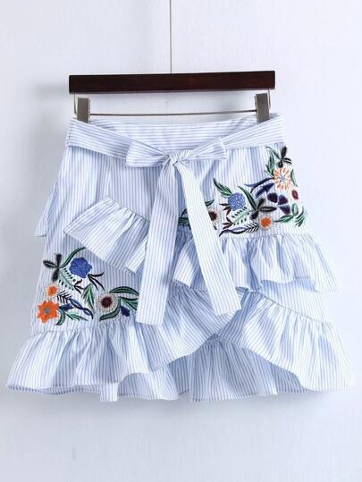 Pinstripe Ruffle Trim Overlap Front Skirt