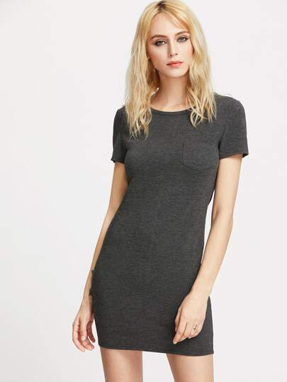 Pocket Front Heathered Tee Dress