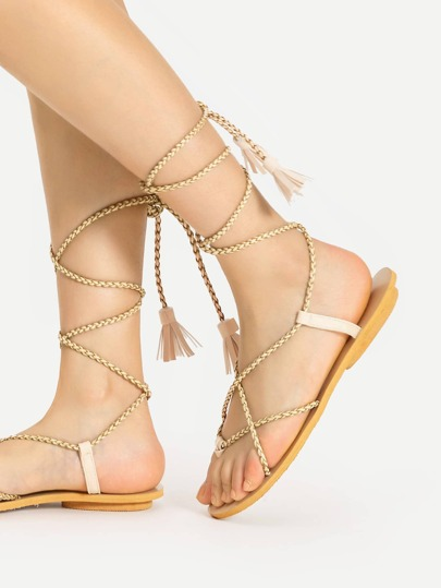 Braided Bracelet Tassel Tie Flat Sandals