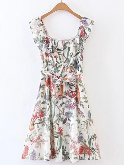Boat Neckline Floral A Line Dress With Self Tie