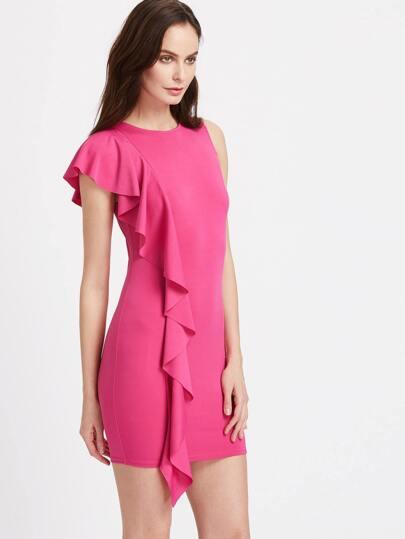 Princess Seam Asymmetric Frill Trim Bodycon Dress