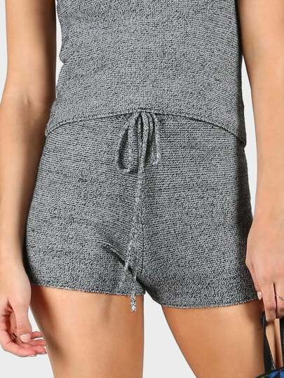 Sweater Knit Drawstring Shorts HEATHER GRAY
