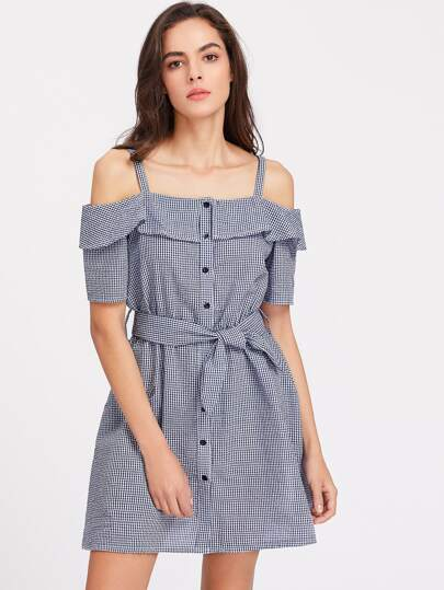 Ruffle Open Shoulder Button Up Belted Gingham Dress