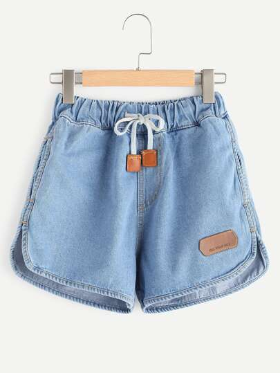 Drawstring Waist Curved Hem Denim Shorts