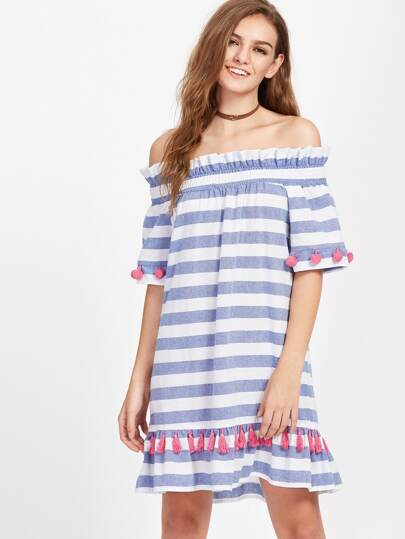 Shirred Off Shoulder Pom Pom And Tassel Embellished Striped Dress