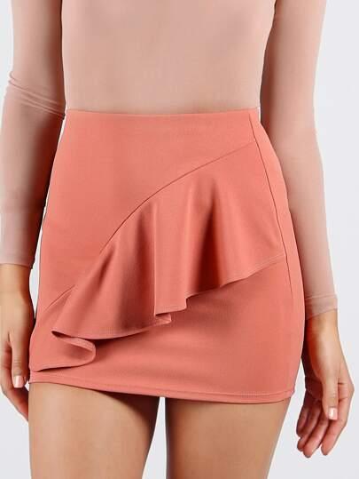 Front Ruffle Bodycon Miniskirt PEACH