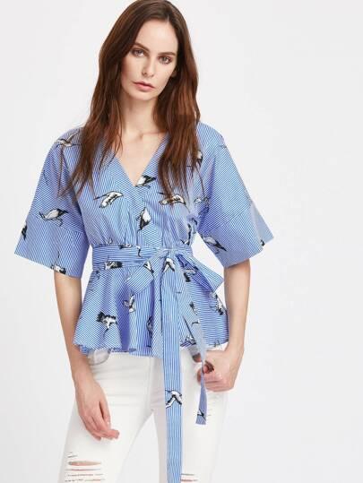 Kimono Bluse mit Kranemuster und Streifen