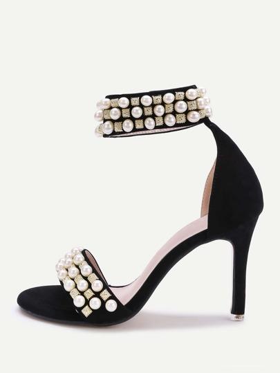 Sandalias de tacón alto con decoración de perla de imitación y pedrería