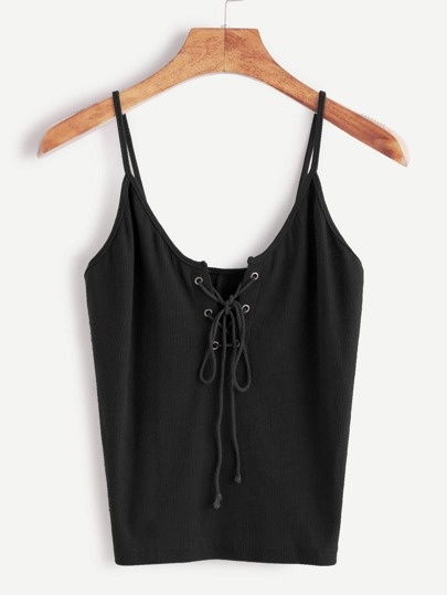 Eyelet Lace-Up Front Cami Top