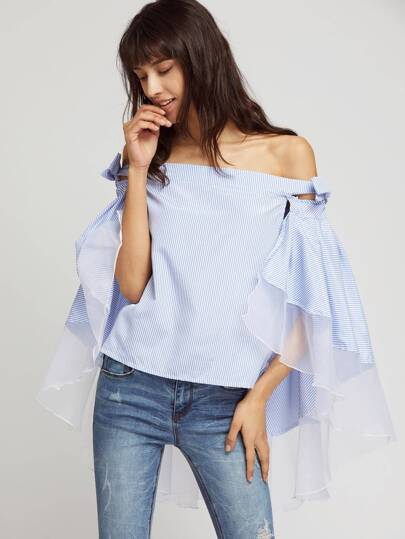 Off Shoulder Contrast Mesh Tie Detail Cape Top