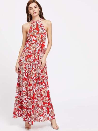 Drawstring Halter Neck Frilled Tiered Floral Dress