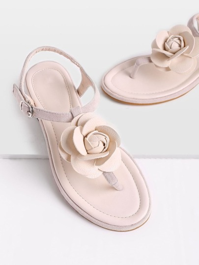 Sandalias con detalle de flor con tira en el dedo