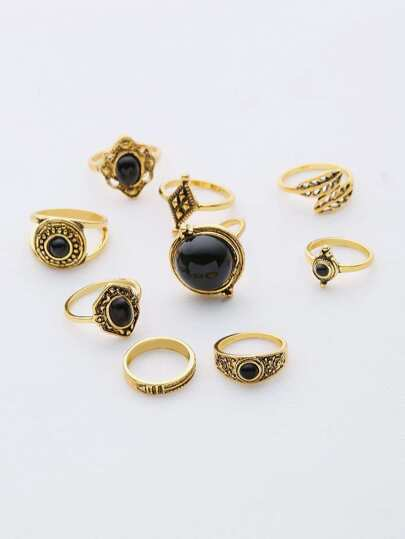 Contrast Gemstone Ring Set
