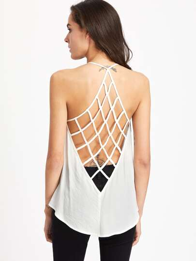 Caged Racerback Vented Hem Cami Top