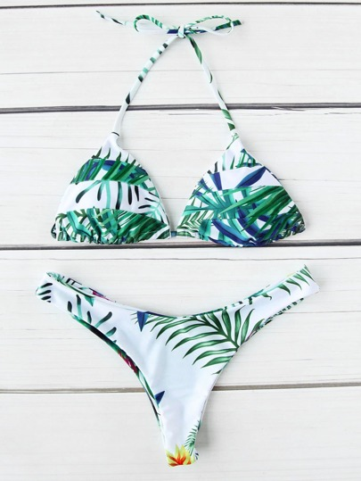 Sets de bikini triángulo con estampado tropical